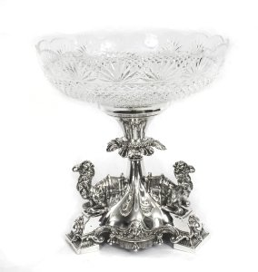 Antique Victorian Silverplate Camels Centrepiece Cut Crystal