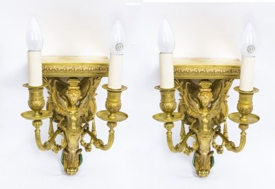 Antique Pair of French Art Nouveau Ormolu Wall Lights Pedestals C1910