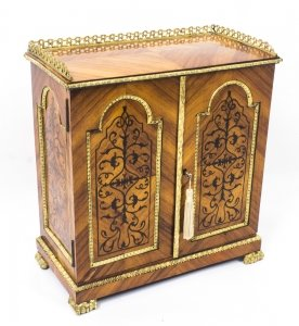 Antique French Kingwood Table Top Jewellery Collectors Cabinet C1840