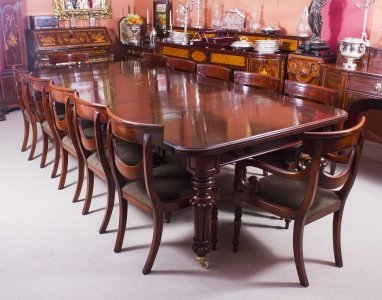 Antique 10 ft Flame Mahogany Extending Dining Table C1840 &amp 12 chairs