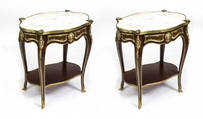 Pair Louis Revival Carrara Marble Topped Occasional Tables C. 1920