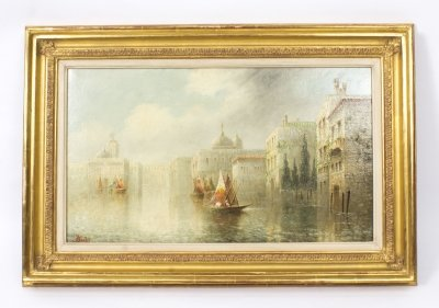 Antique Painting &quot On the Grand Canal&quot by James Salt 1850 1903