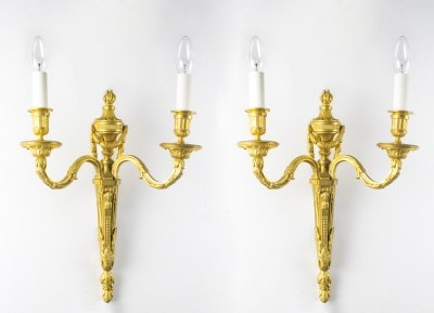 Antique Pair Decorative Twin Branch Wall Lights 19th C
