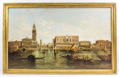 Antique Oil Painting Doge& 39 s Palace &amp St Marks Square Alfred Pollentine c1874
