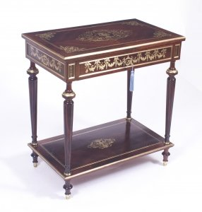 Antique French Cut Brass Inlaid Rectangular Side Dressing Table