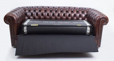 Bespoke English Leather Chesterfield Sofa Bed BBA