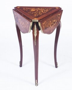 Antique Louis Revival Marquetry Triform Occasional Table C1870