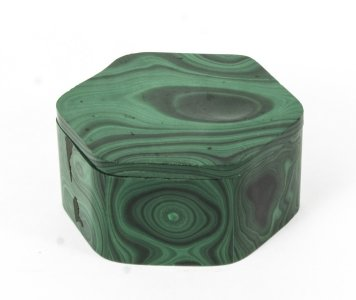 Antique Malachite Hexagonal Box &amp Cover Casket C1880