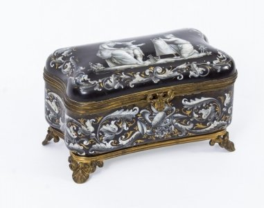 Antique French Enamel Grisaille Jewellery Casket Box
