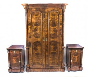 Antique Victorian Burr Walnut Wardrobe &amp Pair Bedside Cabinets C1870