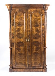 Antique Victorian Burr Walnut Wardrobe C1870