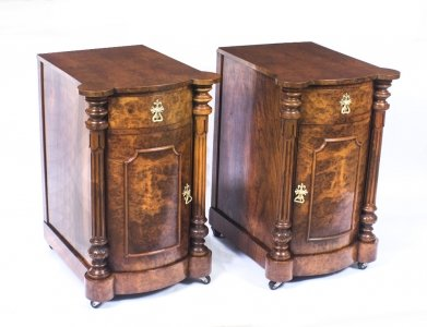Antique Victorian Burr Walnut Pair Bedside Cabinets C1870