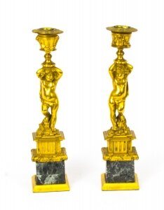 Antique Pair French Ormolu Cherub Candlesticks