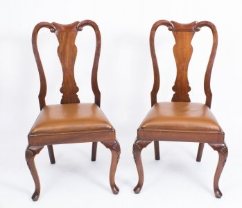 Vintage Pair Mahogany Queen Anne Style Side Chairs C1970