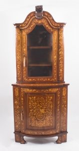 Antique Dutch Walnut &amp Floral Marquetry Corner Cabinet