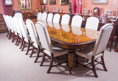 Huge Bespoke Handmade Marquetry Burr Walnut Extending Dining Table &amp 16 Chairs