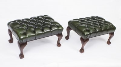 Pair of Chippendale Ball &amp Claw Leather Stools Emerald Green
