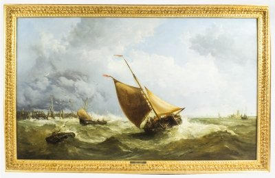 Antique Painting Large by James Webb Fishing Smack in Rough Seas 1866