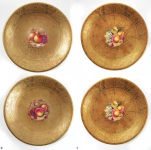 Antique Set of 4 Royal Worcester Acid Gilt plates Mid 20th c | Ref. no. 08556