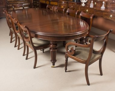 Antique Oval Extending Dining Table C1870 &amp 10 Balloon Back Dining Chairs