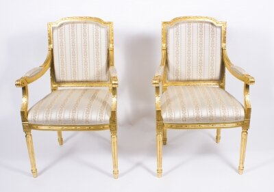 Pair Bespoke French Louis XVI Carved Giltwood Armchairs | Ref. no. 08598a