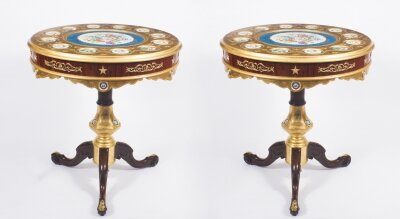 Pair of French Ormolu &amp Sevres Style Porcelain Occasional Side Tables 20th C