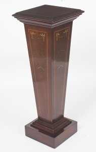Antique Edwardian Inlaid &amp Painted Mahogany Pedestal Stand