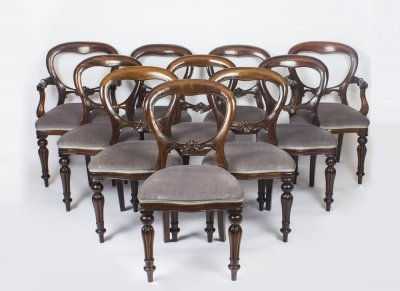 Vintage Set of 10 Victorian Style Balloon Back Dining Chairs