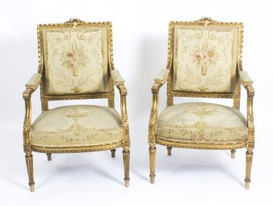 Antique Pair of Louis XVI style Giltwood Armchairs Late 19 Century