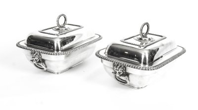 Antique silver sauce tureens | Elkington silver plate entree dishes | Ref. no. 08657