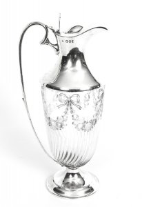 Antique Victorian Silver &amp Engraved Crystal Claret Jug William Hutton 1893