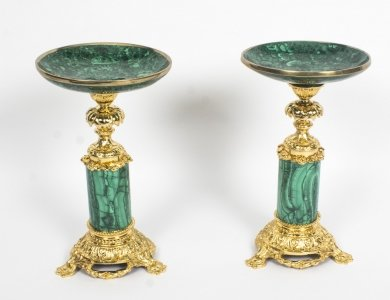 Antique Pair Malachite &amp Ormolu Mounted Tazzas Circa 1880