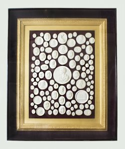 Antique Grand Tour Intaglios Giltwood Framed 19th Century