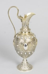 Antique Victorian Silver Claret Jug Lidded Sibray Hall &amp Co Sheffield 1879