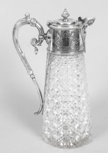 Antique Victorian Silver Plate Mounted &amp Cut Crystal Claret Jug 19th C