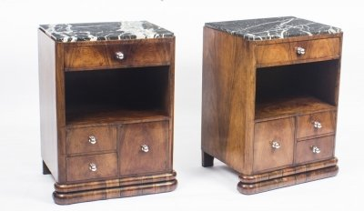 Antique Pair French Art Deco Rosewood Bedside Chests Cabinets 1930