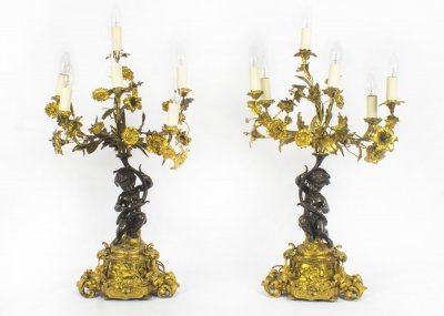 Antique Pair French Ormolu &amp Patinated Bronze Table Lamps C1850