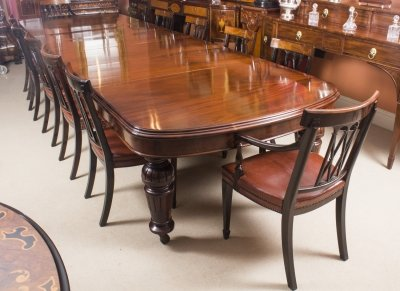 Antique D End Mahogany Dining Table 12 Chairs By Edwards Roberts