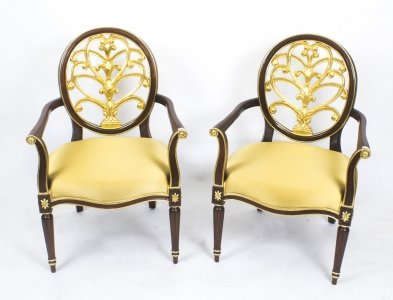 Antique Pair Napoleon III Style Mahogany &amp Giltwood Armchairs late 20th Century