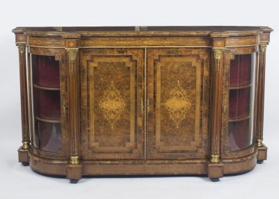 Antique Victorian Burr Walnut Inlaid Credenza Side Cabinet - Antique Victorian Burr Walnut Inlaid Credenza Side Cabinet C.1860