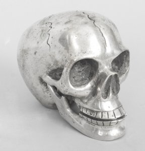 Lifelike Silver Plated Bronze Skull | Ref. no. 08827 | Regent Antiques