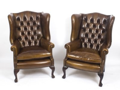 Pair Leather Chippendale Wing Back Armchairs Walnut