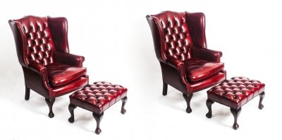 Pair Leather Chippendale Wing Back Armchairs &amp Pair Stools Ruby Red