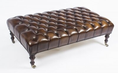 Bespoke Large Leather Stool Ottoman Coffee table 4ft x 2ft 6inches | Ref. no. 08848