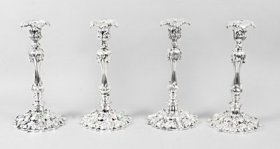 antique silver plate candlesticks | Victorian silver plated candlesticks | Ref. no. 08891 | Regent Antiques