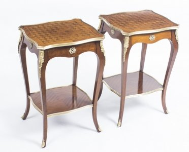 Antique Pair Parquetry &amp Ormolu Mounted Occasional Tables 19th C