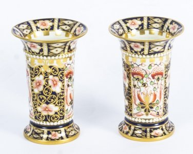 Antique Pair Royal Crown Derby Imari Trumpet Shaped Spill vases 1919