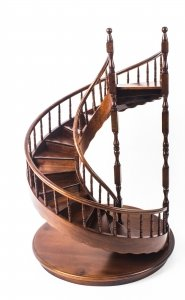 Vintage English Mahogany Architectural Model Spiral Staircase, Mid 20  Century