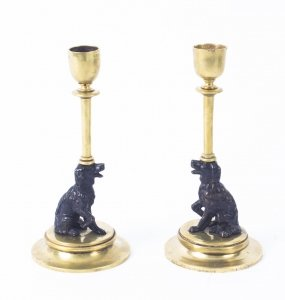 Antique Pair french Novelty Bronze Spaniel Candlesticks 19th C | Ref. no. 08941