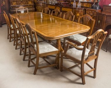 Vintage William Tillman Regency Dining Table &amp 10 Hepplewhite Chairs 20th C